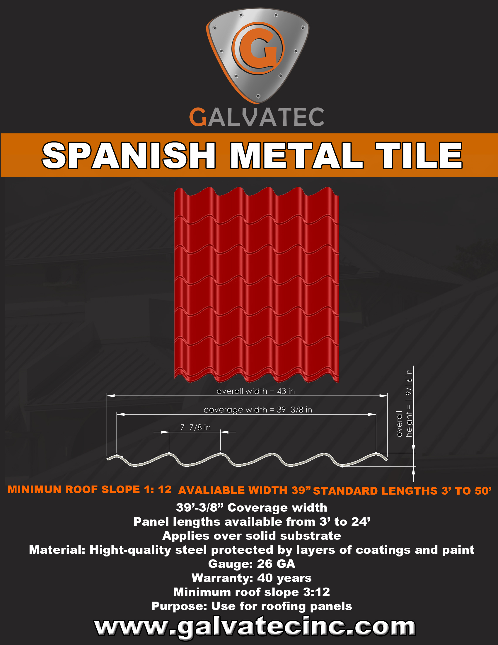 Spanish tile galvatec for Metal roof that looks like spanish tile